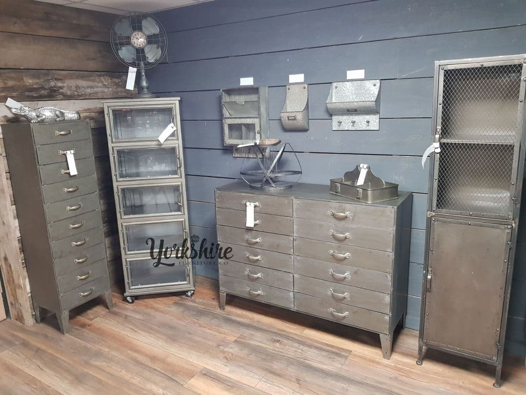 Large Industrial Metal Sideboard Grey - Sideboard Industrial Metall